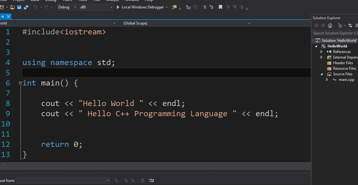 C++ Hello World Code